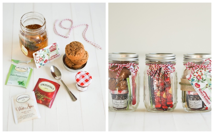 side by side photos, deconstructed tea inside mason jars, with red and white ribbons, homemade christmas gift ideas