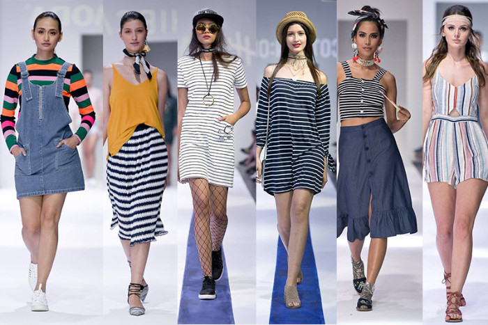 vertical and horisontal stripes, multicolored and black and white, on five 90s inspired looks, denim pinafore and midi skirts, mini dresses and a playsuit
