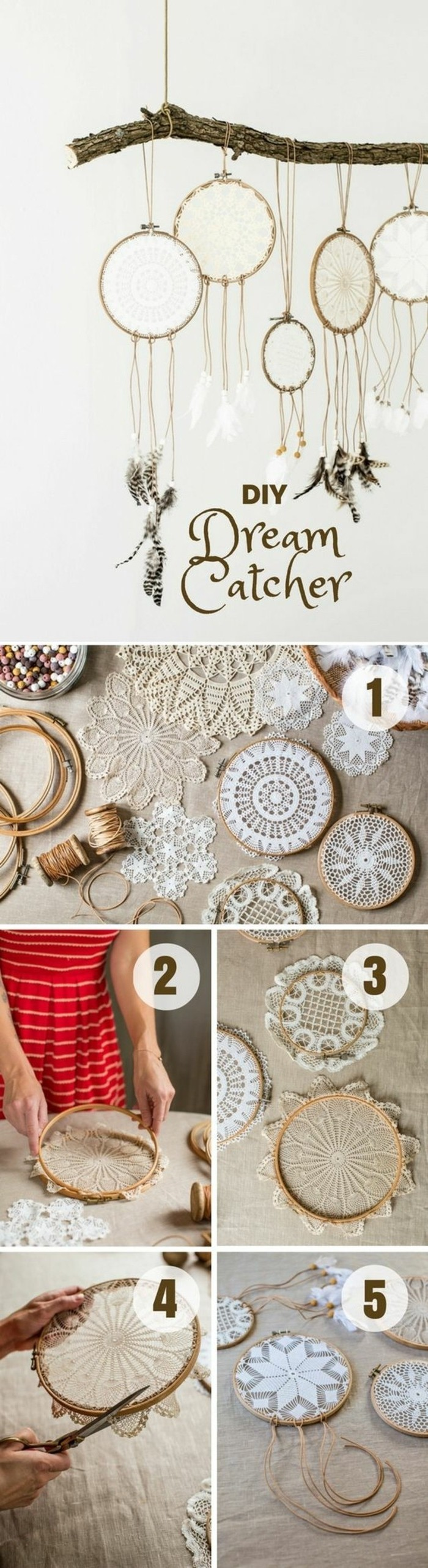 making a diy dreamcatcher, using crochet doilies, explained in five steps, picture of necessary materials and processes, and an image of the end results