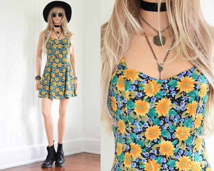 mini dress with floral print, worn with black combat boots, and a large hat, 90s clothes womens, young blonde woman, with cocker and two necklaces
