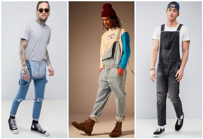 unbuttoned and buttoned denim overalls, in medium blue, pale blue and grey, 90s clothes mens, worn by three young men