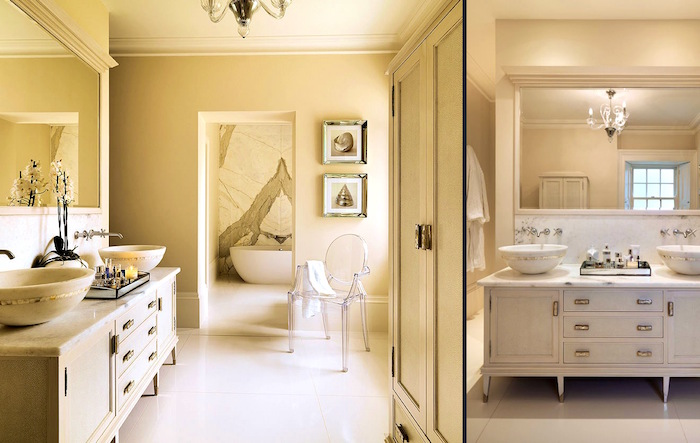 large room in cream, containing a big cupboard, with two sinks, a big mirror and a chandelier, nice bathrooms, open door and a clear plastic chair