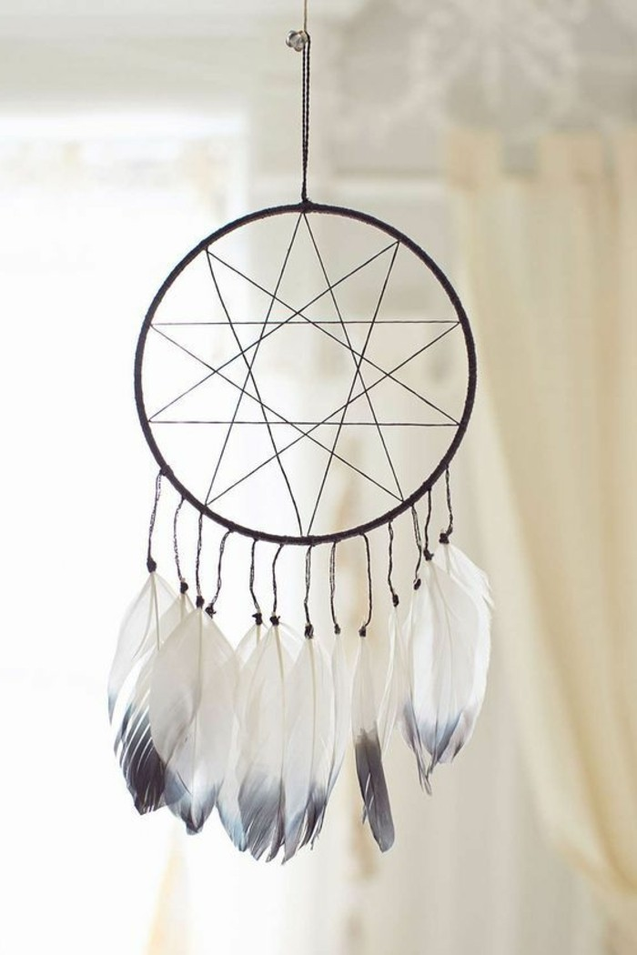 minimalistic dreamcatcher designs, star-like web motif, decorated with white feathers, with pale grey tips