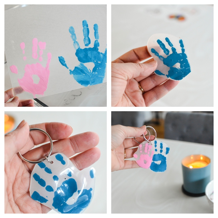 keychain with handprints in blue and pink, thoughtful christmas gifts, photo collage of step by step diy tutorial