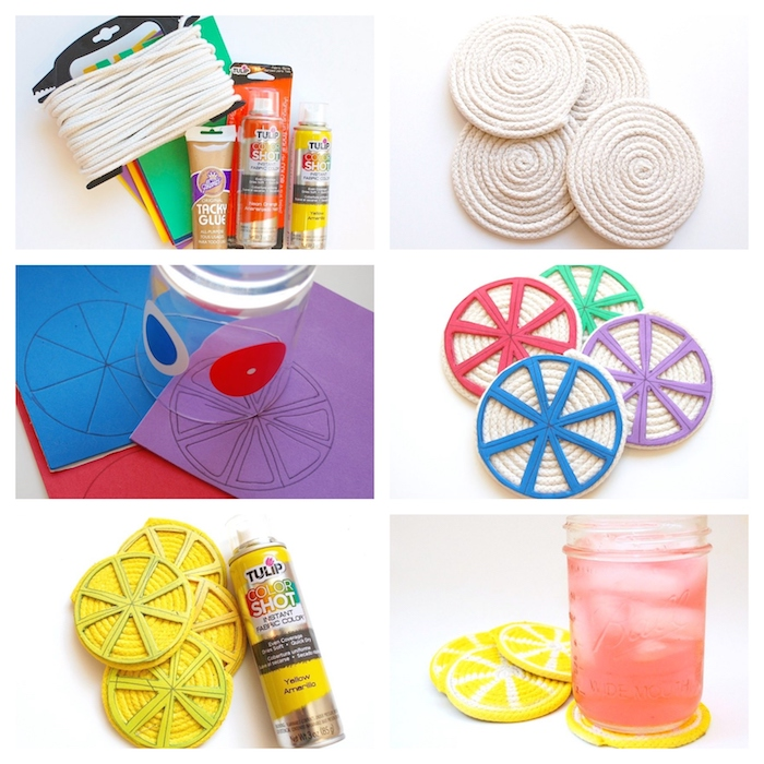 photo collage of step by step diy tutorial, thoughtful christmas gifts, how to make coasters looking like lemon slices