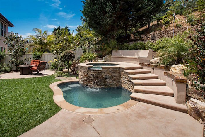 well-like pool, lined with stone tiles, built above a slightly larger pool, and accessible via stone steps, small inground pools, garden and house nearby