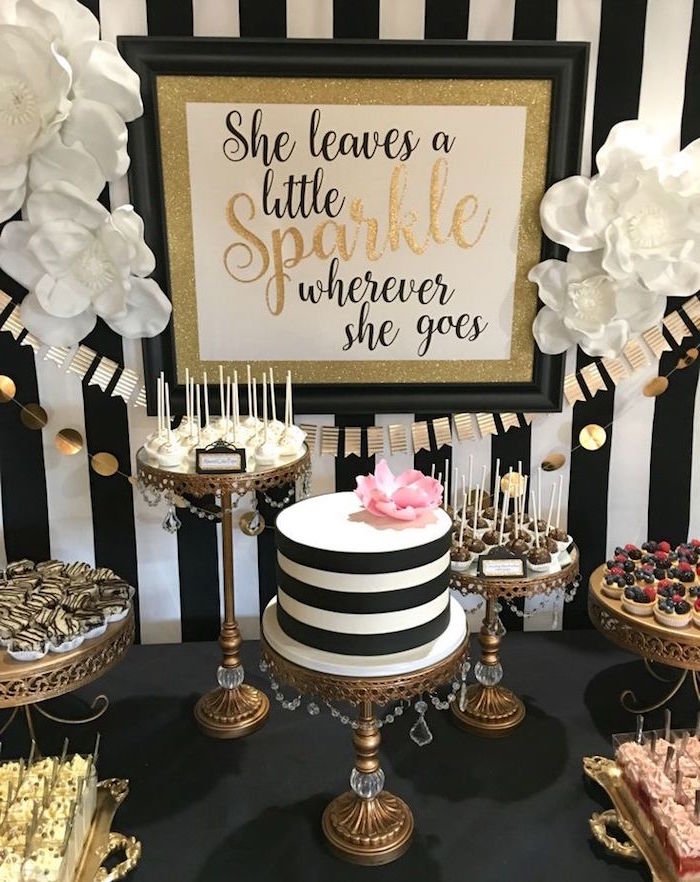 tartlets and cake pops, and various other sweets, near a striped black and white cake, topped with a pink flower, 60th birthday party ideas for mom, black white and gold poster, with a festive message