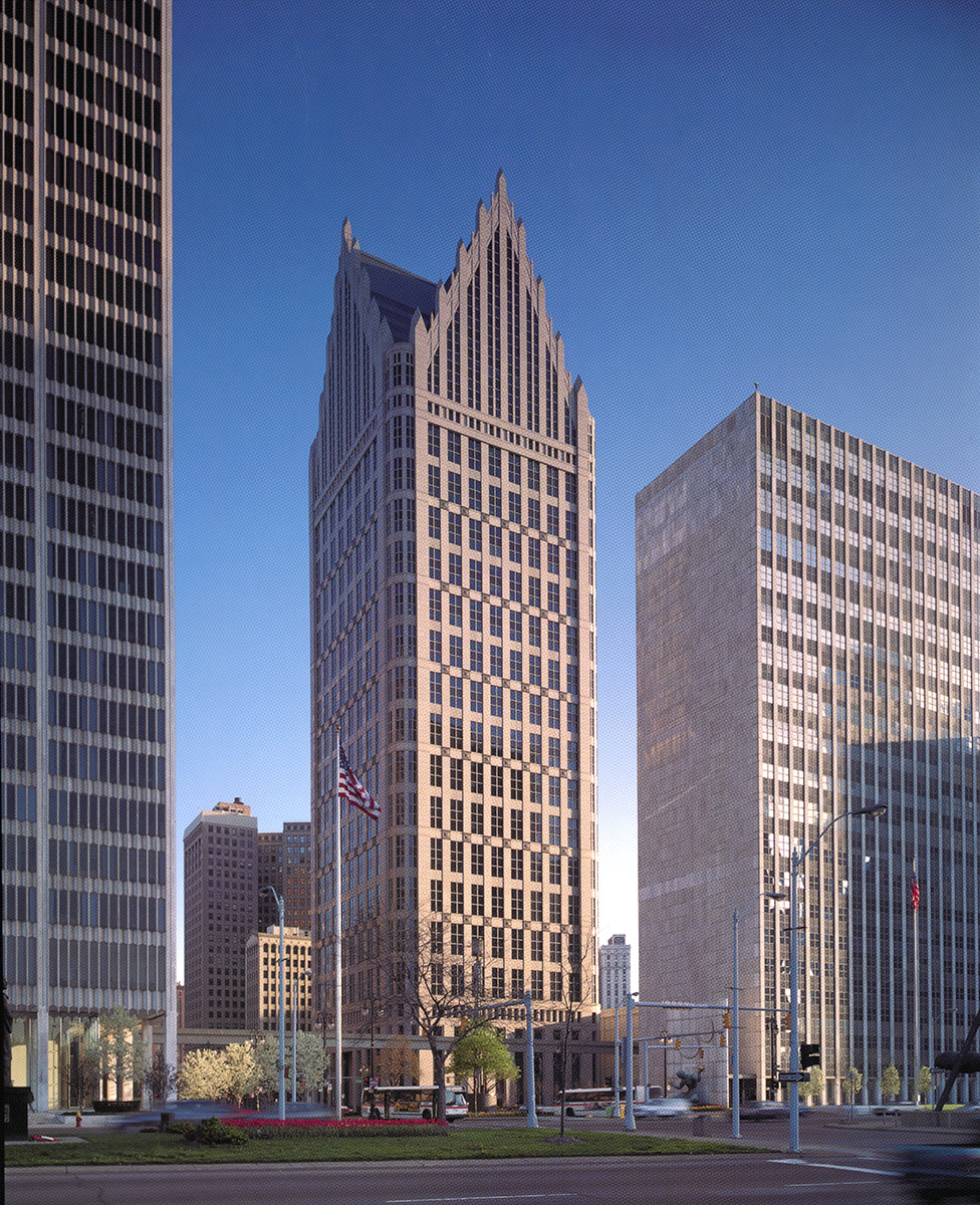 rectangular skyscraper with lots of windows, featuring gothic-inspired spires at the top, postmodern buildings, ally detroit center