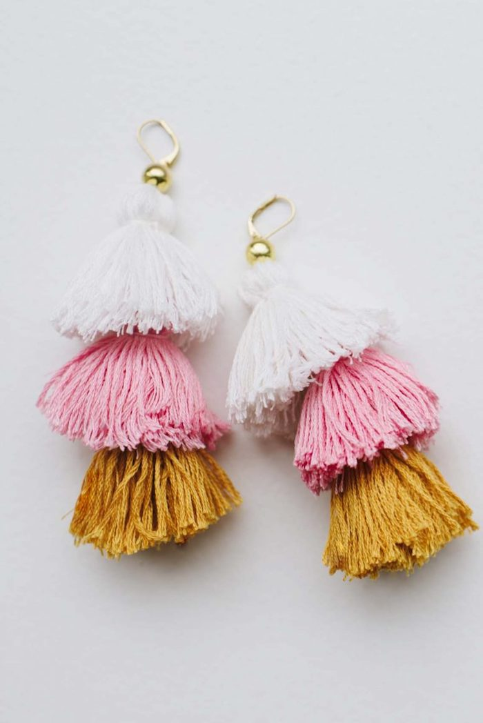 three tassels earrings in white pink and orange, best friend gifts diy, white background