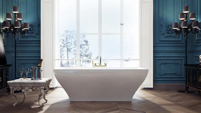 symmetrical bathroom setup, blue walls with plaster details, a large window with white frames, a bathtub surrounded by two lamps, and an ornamental antique coffee table