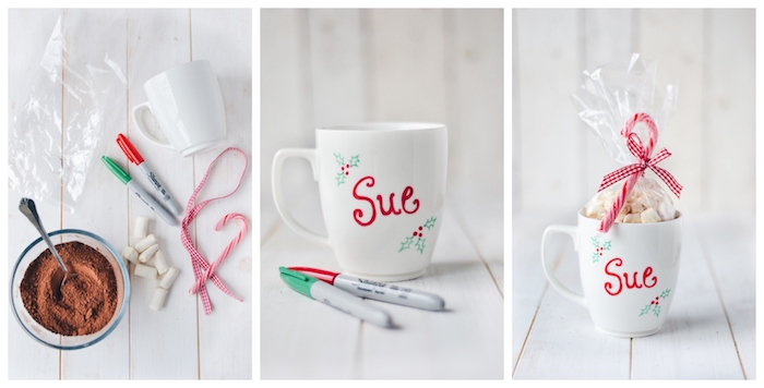 deconstructed hot chocolate, inside a personalised white mug, homemade christmas gift ideas, placed on white wooden table