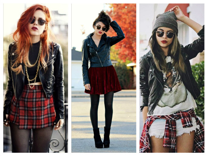 tartan mini skirt, with black cropped top, red velvet mini skirt, pale denim cutoff shorts, on three women, with black leather jackets