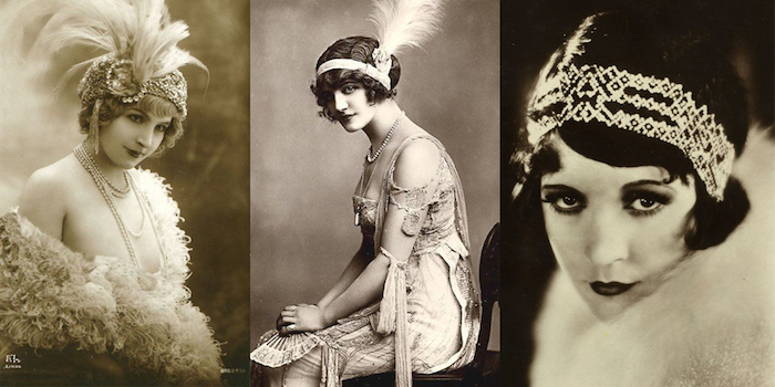 authentic vintage images, in black and white, of three women, dressed in flapper outfits, with large feathers and headbands, roaring 20s dress
