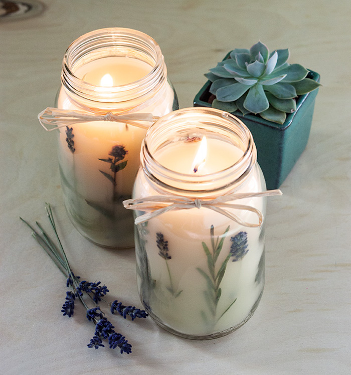 candles with lavender branches inside mason jars, diy birthday gifts, lavender branches on the side, succulent in a pot