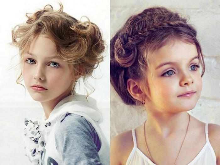 wavy fancy up-do, on the dark blonde hair, of a young girl, cute hairstyles, next image shows a younger girl, with brunette hair, braided above her forehead