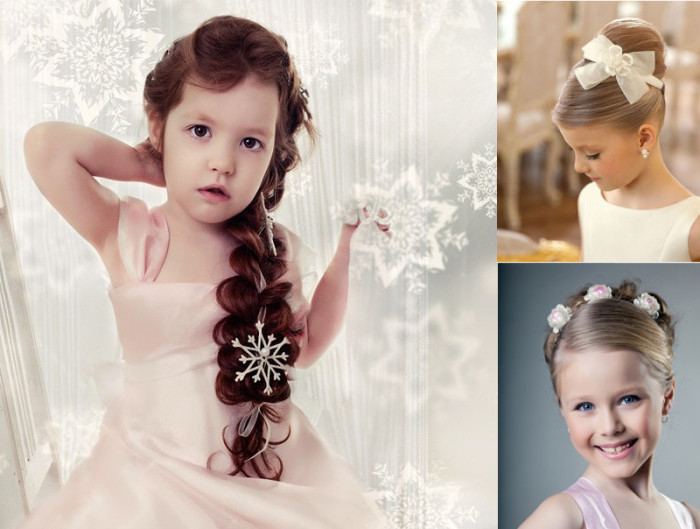 snowflake ornament in white, decorating the long brunette braid, of a little girl with wavy hair, two images of kids, with blonde 1950s-style up-dos
