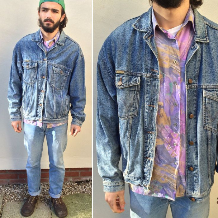 bearded man with green baseball cap, wearing jeans and a vintage denim jacket, 90s party outfits for guys, shirt with pink, purple and yellow splashes of paint