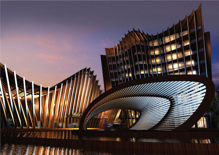 beams and wave-shaped roofs, on two buildings of different heights, both lit from within, oval asymmetric gazebo-like structure, postmodern architecture