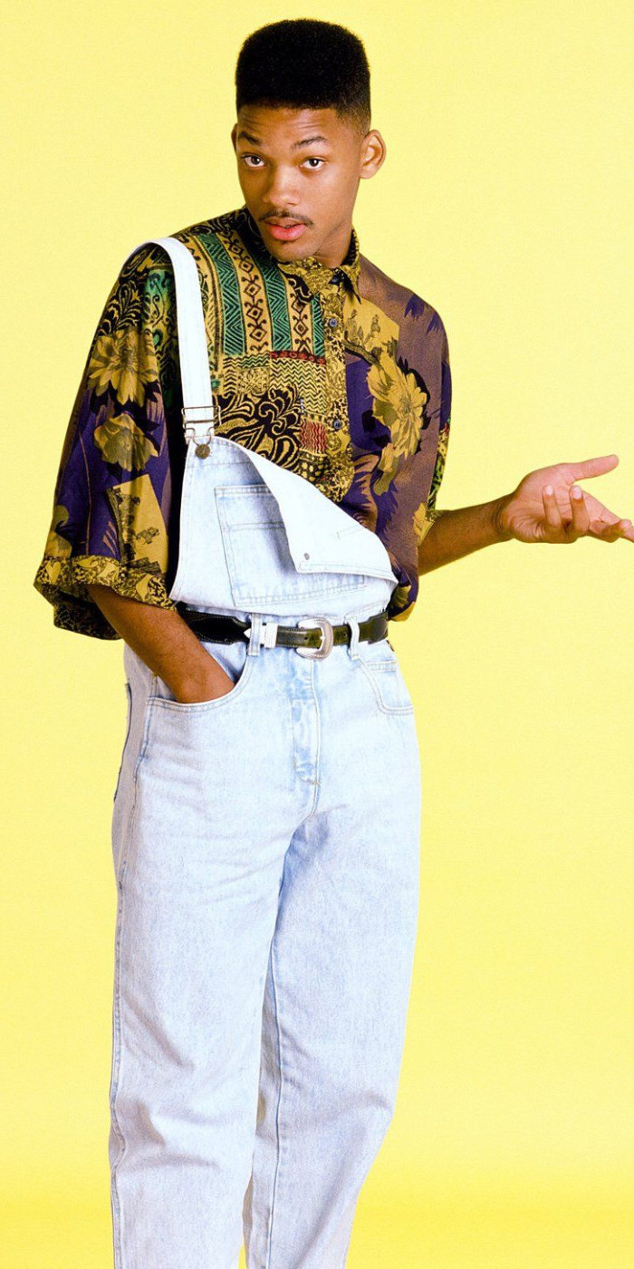 the fresh prince of bel air, will smith dressed in retro clothes, multicolored oversized shirt, and 90s overalls