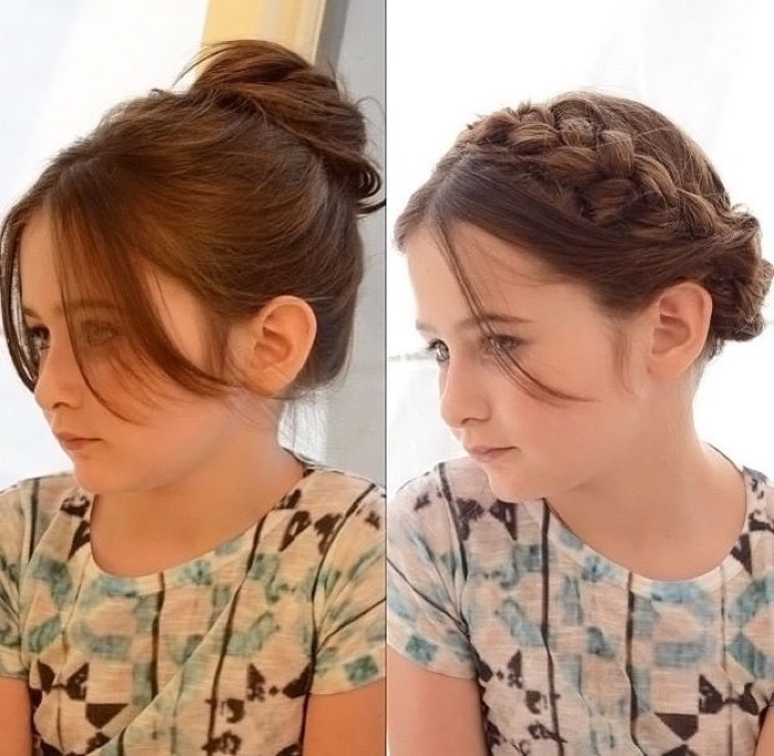 messy bun with long bangs, and a crown braid up-do, worn by the same, dark auburn-haired young girl, seen in two, side by side images