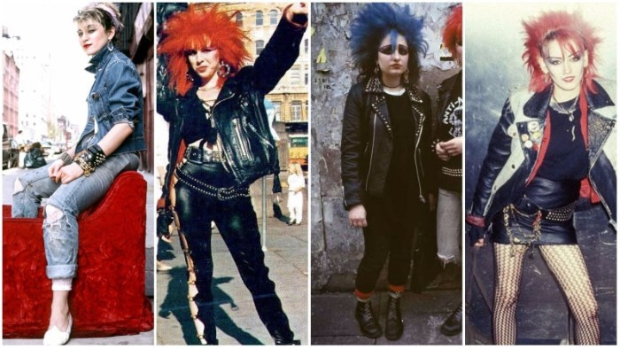 syudded black leather, and distressed denim outfits, worn by young madonna, and three female punk rockers, with spiky red and blue hair, 80s halloween costumes, simple 80s outfit