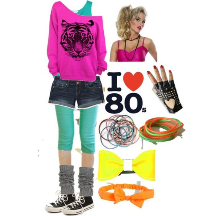accessories and clothes for a retro party, in neon colors, 80s halloween costumes, pink off-the-shoulder top, with black tiger print, denim shorts and a teal tank top, leg-warmers and sneakers, fingerless leather gloves, and many others