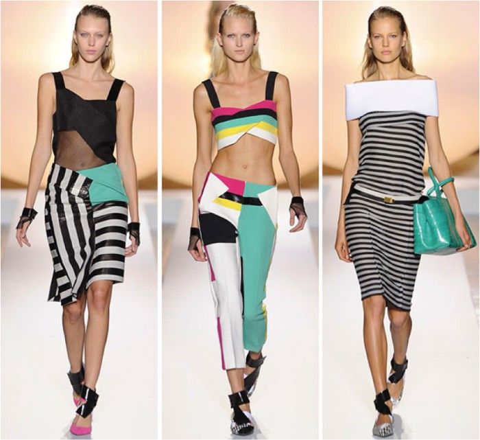modern designer outfits, inspired by 80s fashion, striped midi skirts and dresses, cropped tops and trousers in popping colors