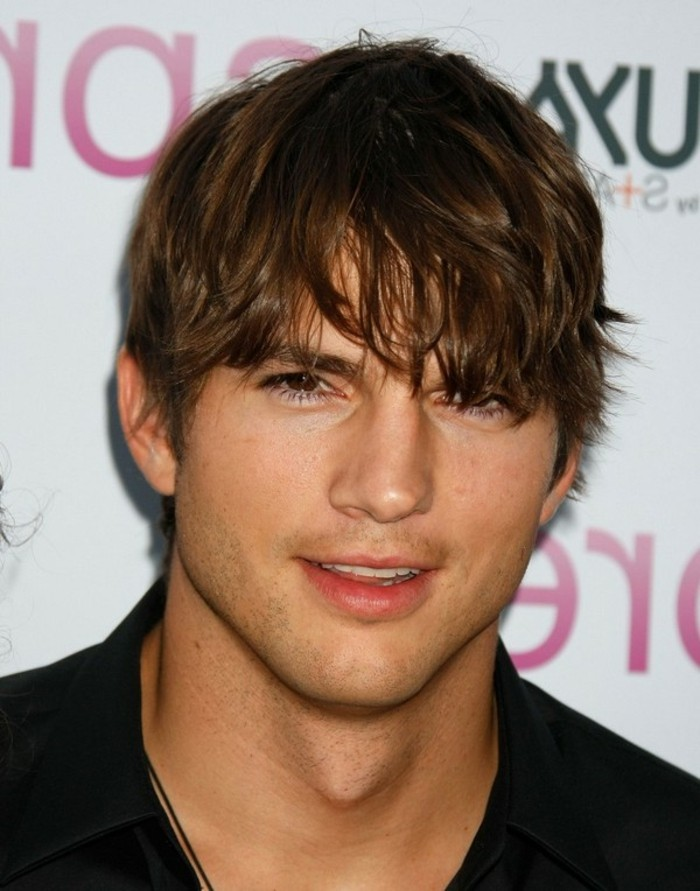 shaggy brown hair, with messy bangs, worn by ashton kutcher, types of haircuts for men, boyish hairstyle
