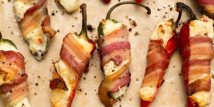 jalapeno peppers cut in half, stuffed with cheese, and wrapped in bacon, then grilled, horderves ideas