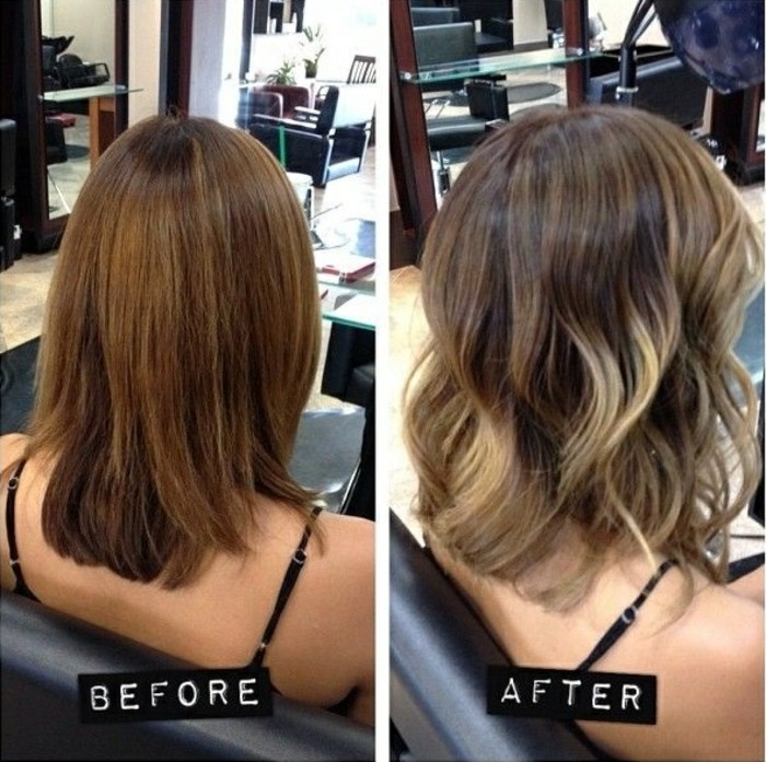 dry caramel colored hair, with split ends, next image shows wavy balayage hair, with brunette roots, and platinum blonde highlights