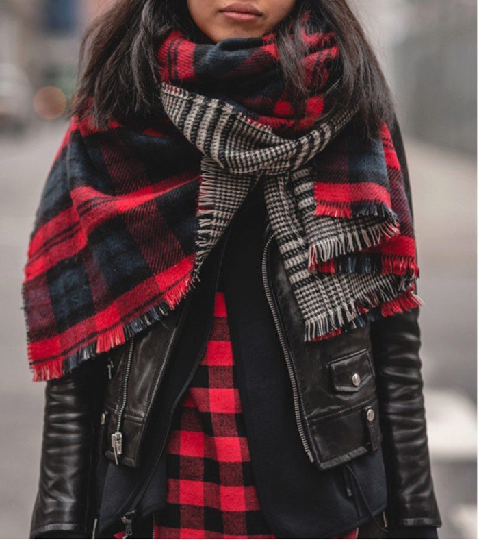 red and black, reversable checkered scarf, worn over a black leather jacket, by a girl in a flannel shirt, ways to wear a blanket scarf when it's cold