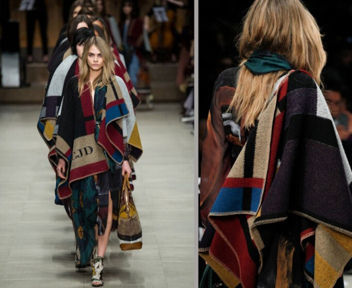 catwalk models helmed by cara delevigne, dressed in layered clothing, with oversized scarves in block colors, ways to wear a blanket scarf, in a fashionable way