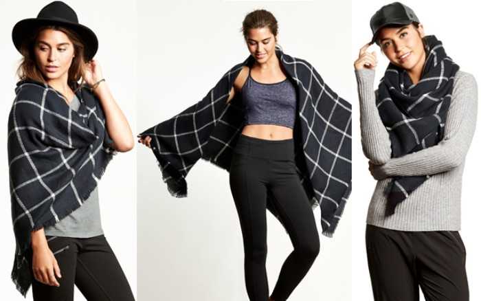 brunette young woman seen in three images, dressed in different sports attire in each photo, and wearing the same black and white scarf, styled in different ways, ways to wear a blanket scarf casually
