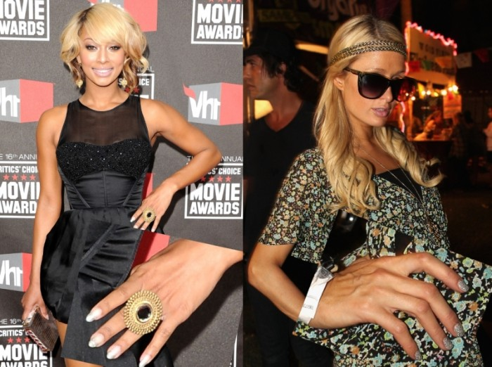 famous women with short stiletto nails, one is dressed in a black dress, and has pale nails, the other wears a floral outfit, and has silver nails, paris hilton