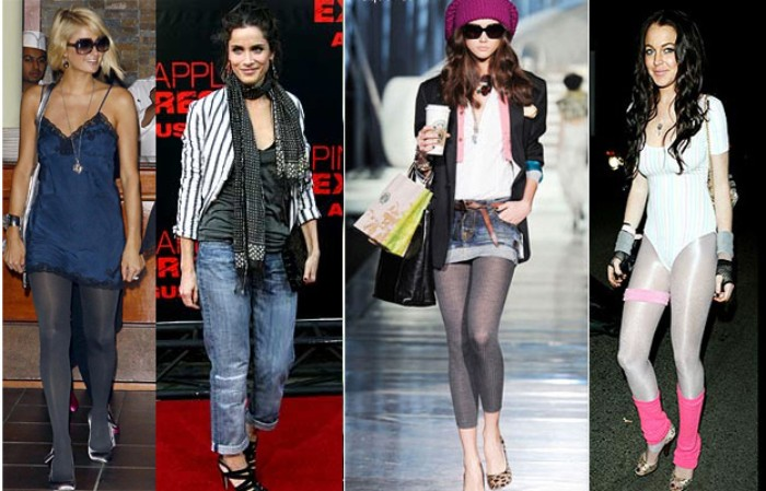 famous women wearing outfits, inspired by the 80s, working out spandex clothes, baggy jeans and oversized blazers, mini dres with opaque tights