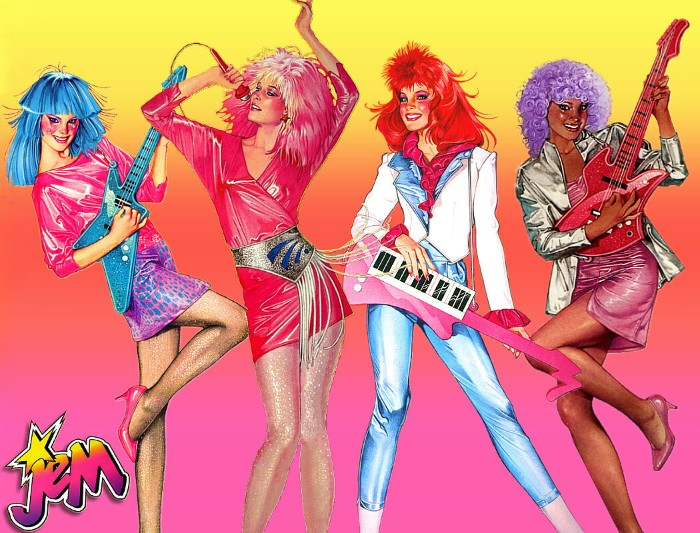 illustration of four characters, from the 80s cartoon jem and the hollograms, 80s fashion trends, shiny clothes and mini skirts, in popping colors