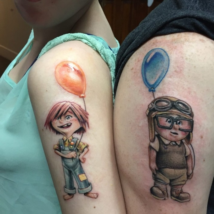 ellie and carl from the film up, holding balloons, tattooed in full color, on the shoulders of a couple, standing next to each other, matching tattoos for couples in love, who like pixar