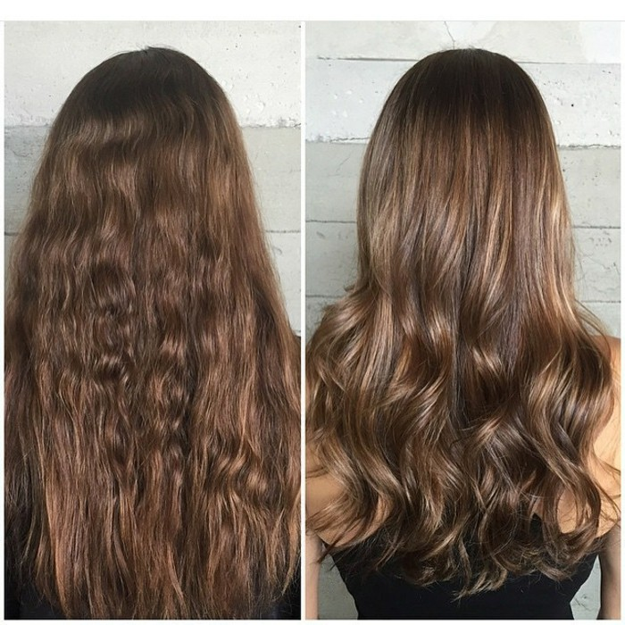 back view of long, wavy brunette hair, next image shows the same hair, but curled and featuring subtle, brown highlights, balayage brown hair