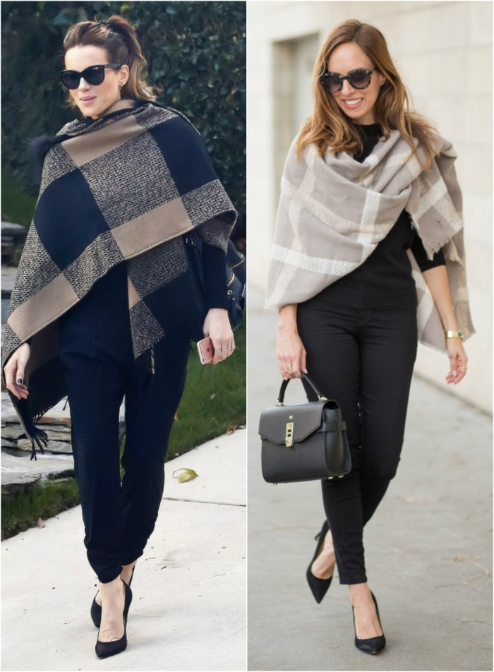 side by side images, of two women dressed in black, one wearing a beige and black checkered scarf, the other a pale grey shawl, with white stripes, how to fold a blanket scarf, over your shoulders