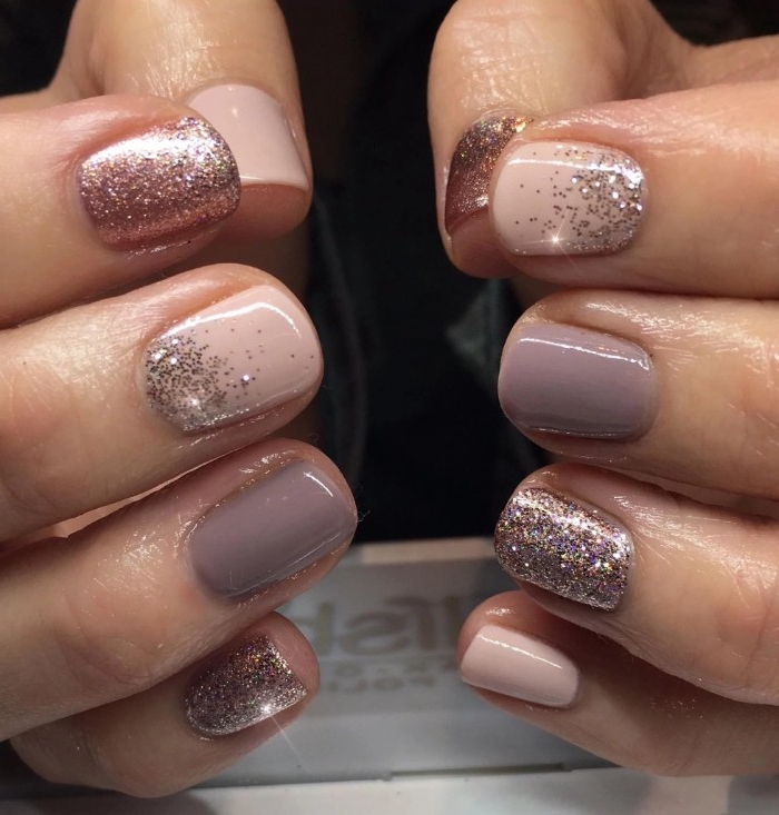 best nude nail polish, pale pink and light, milky pastel purple manicure, decorated with rose gold glitter, short square nails
