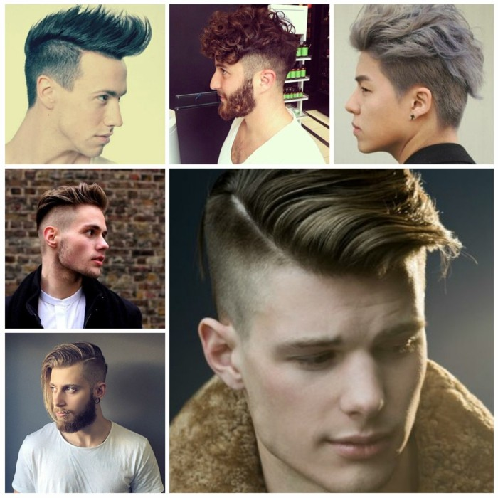 five examples of trendy haircuts for men, undercuts and quiffs, pompadours and faux hawks