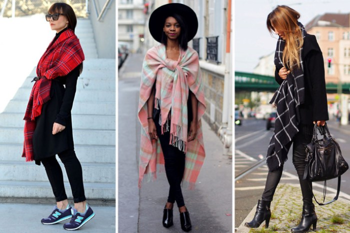 extra long scarves, in different colors and patterns, worn by three different women, dressed in black outfits