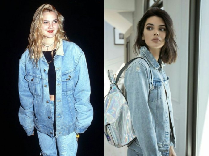 80s outfits, oversized denim jacket, worn over a black t-shirt, and baggy jeans, by drew barrymore, next image shows kylie jenner, in similar attire