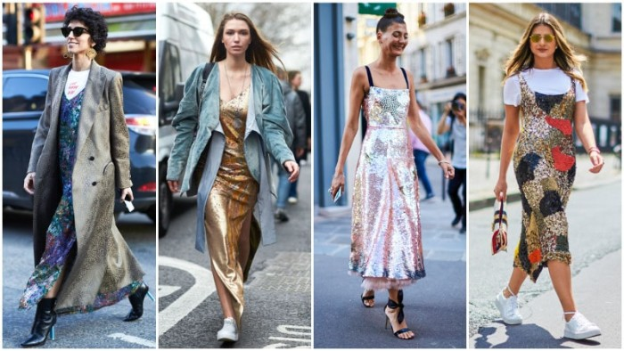 shimmering metallic sequin, midi and maxi dresses, inspired by the 80s, worn by four contemporary women