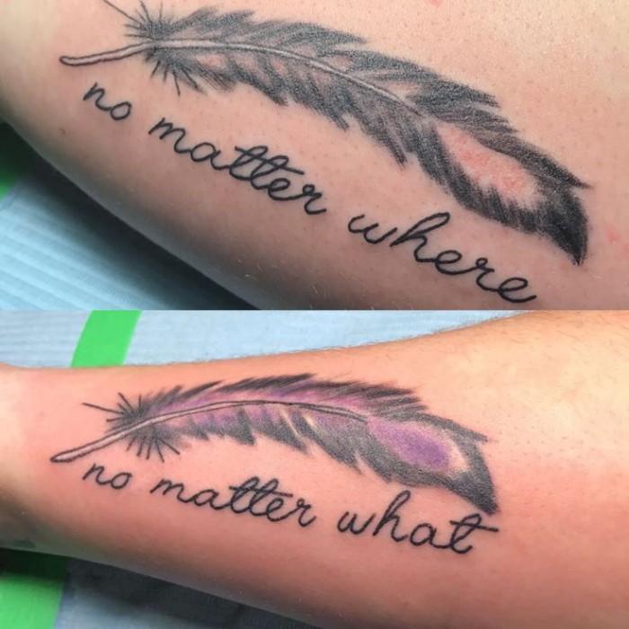 no matter where, and no matter when, written under two feathers, matching friend tattoos