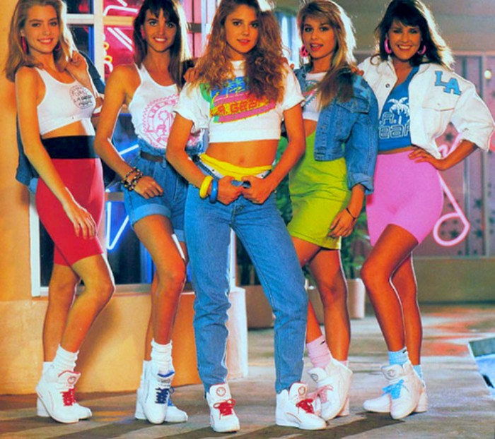 female high school students, dressed in vintage clothes, baggy jeans and mini skirts in neon colors, 80's fashion pictures, cropped tops and retro sneakers