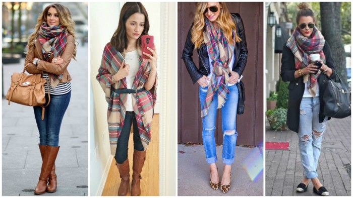 collage with four images, showing young women, wearing jeans and light tops, with large scarves, featuring a smiliar pattern, how to fold a blanket scarf, in a stylish way