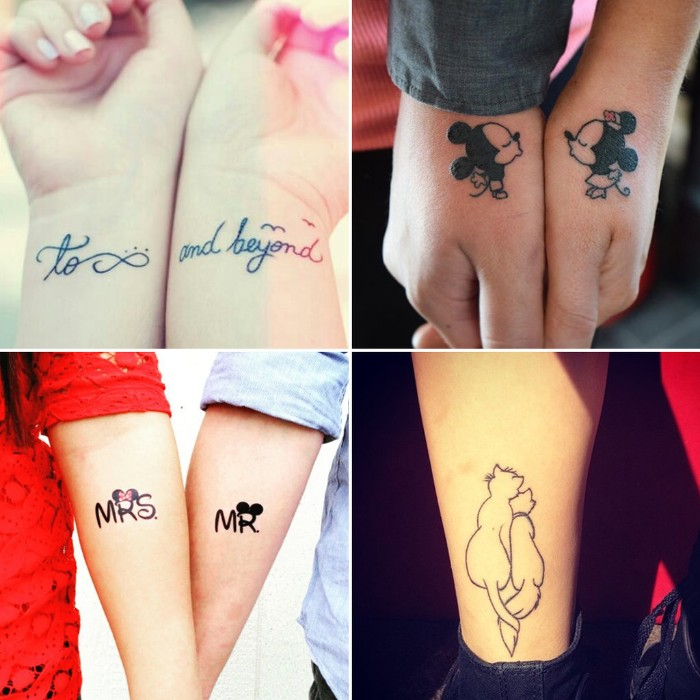 disney inspired his and hers tattoos, kissing mickey and minnie, the aristocats hugging, mr. and mrs. decorated with mickey and minnie ears, and a quote from toy story
