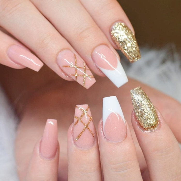 ballerina nails with french tips, gold glitter and nude, pink glossy nail polish, nude gel nails