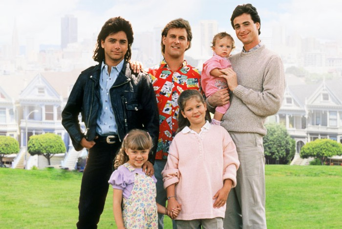 family photo of the characters from full house, 80s sitcom tv series, leather jacket and hawaiian shirt, pale grey trousers and sweater, 80s costumes men